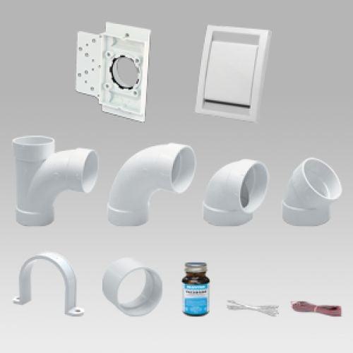 Kit instalare cu 3 prize Deco Vac alb pentru aspiratie centralizata